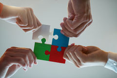 Business People Jigsaw Puzzle Collaboration Team Concept.  stock photos