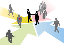 Business people join connect on arrows. Business people connect to collaborate or team up on converging arrows Royalty Free Stock Images