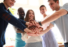 Business people join hand together during their meeting. Stock Photos