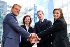 Business people joining hands. Some Business people joining hands stock photo