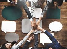 Business People Joining Speech Bubbles Teamwork Concept Stock Photography