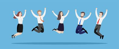 Business people jump together. Illustration of a team of happy workers on a blue background. vector illustration