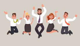 Business people are jumping, celebrating the achievement of victory. Happy office workers. Vector illustration in cartoon style royalty free illustration