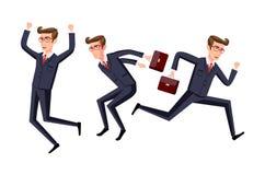 Business people jumping celebrating success vector cartoon illustration. Art Royalty Free Stock Photos