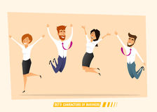 Business people jumping and celebrating victory Royalty Free Stock Photos