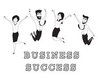 Business people jumping and celebrating victory Stock Images