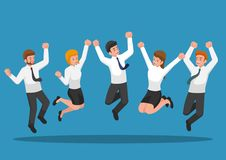 Business people jumping and celebrating victory. Business success and celebration concept Royalty Free Stock Images