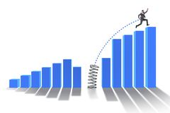 The business people jumping over bar charts. Business people jumping over bar charts Stock Photos