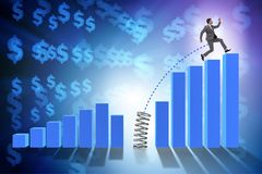 The business people jumping over bar charts. Business people jumping over bar charts Stock Photography