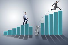 The business people jumping over bar charts. Business people jumping over bar charts Stock Image