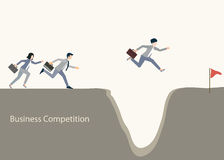 Business people jumping over gap. Royalty Free Stock Image