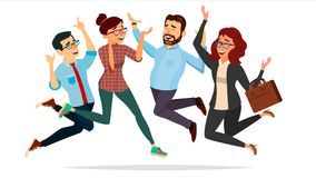 Business People Jumping Vector. Celebrating Victory Concept. Attainment. Entrepreneurship, Accomplishment. Best Worker. Business People Jumping Vector Stock Photo