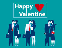 Business people kiss in valentine. Concept business illustration. Vector flat Stock Images