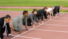 Business People Kneeling at the Starting Line Royalty Free Stock Images