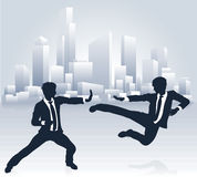 Business People Kung Fu Fighting. Conceptual business illustration of silhouette businesspeople martial arts karate or kung fu fighting Stock Photos
