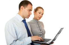 Business people with laptop. Royalty Free Stock Image