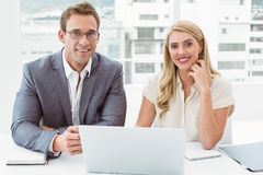 Business people with laptop at office Royalty Free Stock Photo