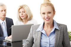 Business people with laptop Stock Photos