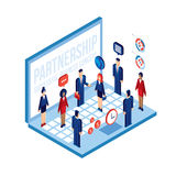 Business people and laptop Technology Social network Partnership Communication concept Stock Image