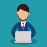 Business people with laptop training icon Royalty Free Stock Photo