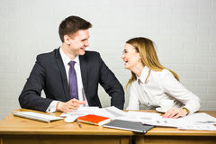 Business people laughing. stock images