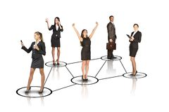 Business people with leader profile Stock Images