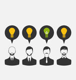 Business people with light bulbs as a concept of new ideas. Illustration business people with light bulbs as a concept of new ideas - vector Royalty Free Stock Images