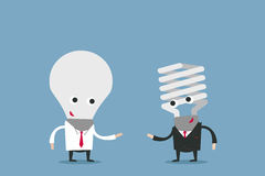 Business people with lightbulb heads Royalty Free Stock Photography