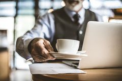 Business people like coffee. Senior person. royalty free stock photography