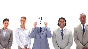 Business people in line with a question mark Royalty Free Stock Image