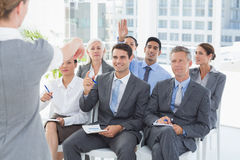 Business people listening during meting Stock Photos