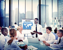 Business People Listening to a Business Presentation Royalty Free Stock Photos