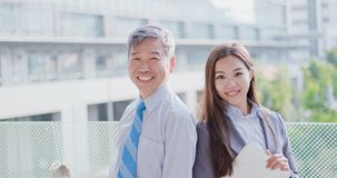Business people smile happily royalty free stock photo
