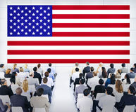 Business People Looking At The American Flag Royalty Free Stock Images