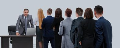 Business people looking at boss standing back side. Waiting for their Turn People in Queue stock photography