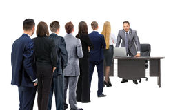 Business people looking at boss standing back side. Waiting for their Turn People in Queue stock image