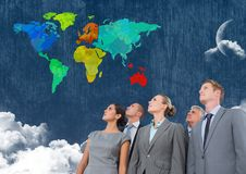Business people looking at Colorful Map with  cloudy background Stock Photos