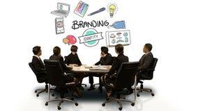 Business people looking at digital screen showing branding