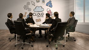Business people looking at digital screen showing cloud computing. In conference room stock video