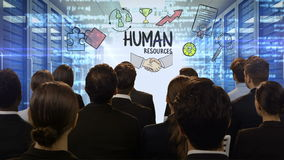 Business people looking at digital screen showing human resources