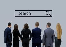 Business people looking at search line. Isolated on white stock images