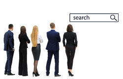 Business people looking to search. Back view of a Group of business team. Isolated on white background Royalty Free Stock Images