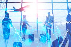 Business people with luggage in airport stock photography