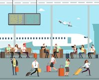 Business people with luggage at airport vector travel concept. Terminal with man and woman with baggage illustration royalty free illustration