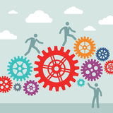 Business people and machine gears wheel - vector concept illustration. Cogwheel illustration. Stock Photography