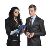 Business people make a report stock photography