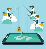 Business people making money by fishing dollar banknote from wallet on screen of smart phone. Royalty Free Stock Photos
