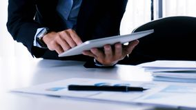Business people making presentation with his colleagues and business tablet digital computer as meeting conceptใ royalty free stock photos