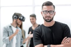 Business people making team training exercise during team building seminar using VR glasses royalty free stock photography