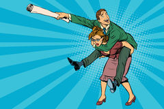 Business people man riding on woman, attack Royalty Free Stock Image